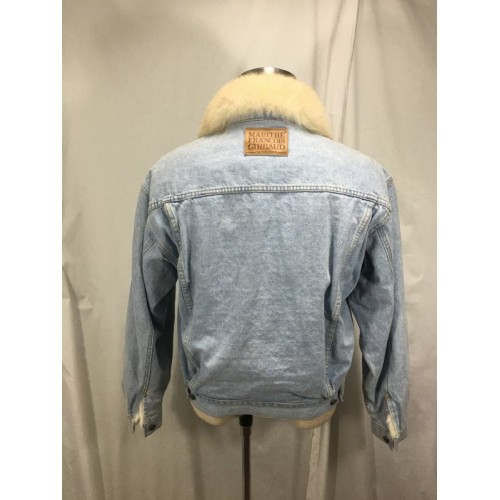 Mens Denim Jean Jacket With White Fur Liner And Collar